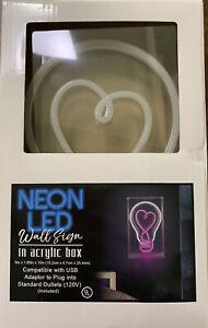 Neon LED Wall Sign in Acrylic Box Light Bulb w/ Heart Decor Lamp Store Pub Light