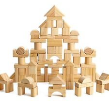 100-Piece Wooden Building Blocks Stacking Set Toys for Kids(Natural Colored)