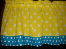Yellow Turquoise Polka Dot fabric topper curtain Valance