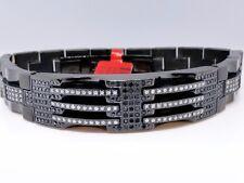 Nuovo Uomo Nero e Bianco Braccialetto di Diamanti Acciaio Inox Rigido 3.2 Kt
