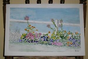 VINTAGE FOLK ART SUMMER BOTANICAL FLOWERS THISTLE NATURE IMPRESSIONISM PAINTING