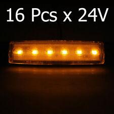 16 Pcs Side Marker Indicators Amber Lights 24V Trailer Truck Lorry Waterproof