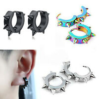 Women Men Punk Stainless Spike Rivet Ear Hoop Loop Pierced Ear Stud Earrings