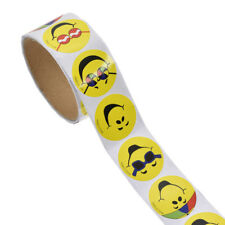 100 Pc Roll Yellow Cartoon Smiley Face Happy Stickers DIY Scrapbook Cards Circle