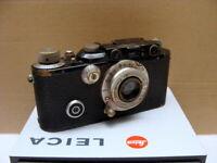 """Leitz Wetzlar - Leica II black Nickel-Elmar 3.5/50mm """"Werksumbau IIIf"""" - RAR"""