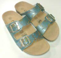 Öko Walk Schuhe Damen Bio Pantolette Tieffußbett Hausschuh 030-604 steel blau