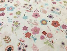 Pottery Barn Full / Queen White Pink Blue Floral Duvet Cover, Cotton (RF870)
