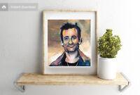Bill Murray Acrylic Painting Digital 4x4 Artwork Graphic Celebrity Comedian Art