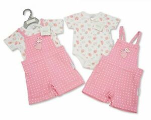 Baby Girls Boys Dungaree Set with Hat Gift set (NB-6MONTHS)