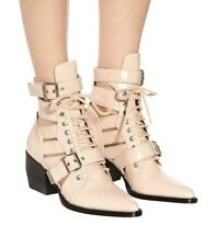 Chloe New $1,390 Rylee Lace Up Leather Cutout Blush Ankle Boots (All Sizes)