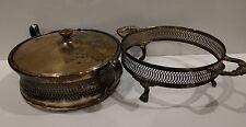 SHEFFIELD Vintage Trivet Bean Pot Soup Holder Stand Set British Antique Pewter?