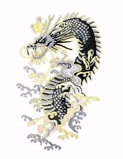 "Large Dragon Embroidered Patch 11.5"" Iron on Applique Chinese Japanese Tattoo"