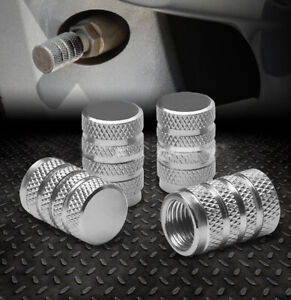 4x Silver Aluminum Piston Car Rim/Tire Valve/Wheel Air Port Dust Cover Stem Caps