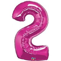 LARGE FOIL BALLOON NUMBER MAGENTA 2 BIRTHDAY PARTY SUPPLIES