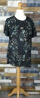 New Look Black Floral Short Sleeved Ladies Blouse Top Size UK 12