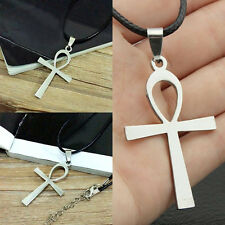 Round Real Leather Necklace Egyptian Ankh Cross Pendant Choker Gift New