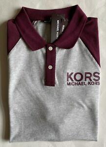 $90 NWT Mens Michael Kors Logo Short Sleeve Quick Wicking Mesh Polo Shirt Gray L