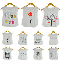Girl Lady's Cropped Dancing Top t shirt Banksy Girl, Tree Heart, Owl White UK