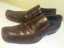 Mens Aldo Slip On Brown Leather Dress Shoes US 10 Box Square Toes Classic EUR 43