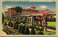Original Vintage Linen Postcard Ambassador Hotel Los Angeles California Message