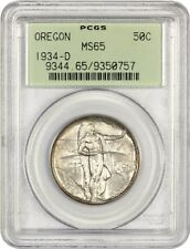 1934-D Oregon 50c PCGS MS65 (OGH) Low Mintage Issue - Low Mintage Issue
