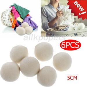 6PCS 5CM Home Wool Tumble Dryer Balls Natural Reusable Laundry Clean Pactical