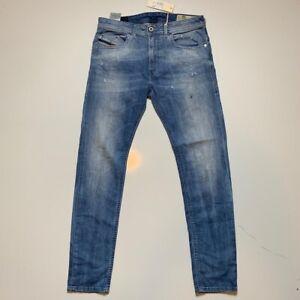Diesel Mens Thommer Slim Skinny Jeans Blue Stretch Medium Wash Denim 30x32 New
