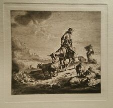 Shepherd With Flock Teodor Bergham Signed  Etching Original Fine Art 1660 Sheep