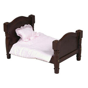 """New - Wooden Bed (Espresso) & Bedding for 18"""" Play Dolls #OTV1002 by Guidecraft"""