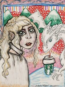 Daenerys Dragon Infamous Coffee Cup ACEO 2.5 x 3.5 Game of Thrones Pop Art Card