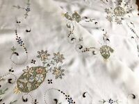 Beautiful VINTAGE HAND EMBROIDERED Cutwork WHITE LINEN TABLECLOTH 41x41 Inches