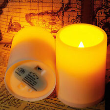 2pcs Indoor Flameless Resin Pillar LED Candle with 8 Hour Timer