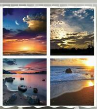 PICTURE COLLAGE SUNSET CRESCENT MOON SANDY BEACH ROCKS OCEAN LAKE SHOWER CURTAIN