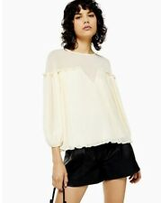 Topshop Pleat Top - Cream Size 6 Rrp £30
