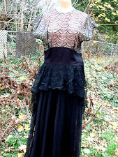 Vintage 40s Black Dress LACE ILLUSION Gown Scarf Peplum S M Cumberbund Waist