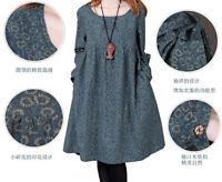 Hot Women Spring Dress Flax Long Sleeve Ladies Linen Cotton Loose Tops Plus Size