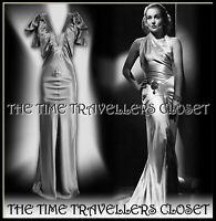 BNWT KATE MOSS TOPSHOP SILVER FLUID SILK DRESS 30s VINTAGE HOLLYWOOD UK 8 36 4