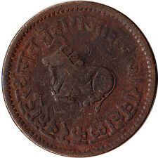 1891 (VS 1948) India - Indore Princely State 1/2 Anna Large Coin Bull KM#35.3