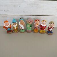 "Vintage DISNEY Seven Dwarves 5-6"" Vinyl Plastic Figures Toys Set of 7 Snow White"