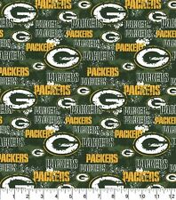 """NFL Green Bay Packers 100% COTTON FABRIC  8"""" X 44"""" Remnant"""