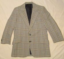 40R BROOKS BROTHERS Curlees Suit 1970's WHITE PLAID Two Button Polyester 36x25