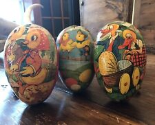 3 Vintage German Large Paper Mache Easter Eggs Candy Container Colorful Design