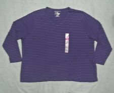 Plus JMS Long Sleeve 100% Cotton V Neck Tee 5X Petunia Striped NWT