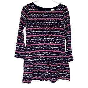 Gymboree Girls Dress Size 7 Long Sleeve A Line Drop Waist Ruffle Blue Pink Heart