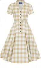 Collectif Vintage Size 4xl 22 Caterina 50s Gongham Swing Dress Mustard White New