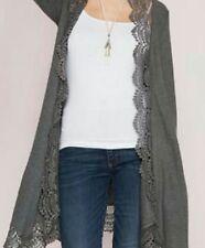 She & Sky Crochet Edged Gray Sweater Large NWT