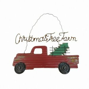 Handmade Christmas Tree Farm Red Metal Truck Plaque Festive Hanging Decoration