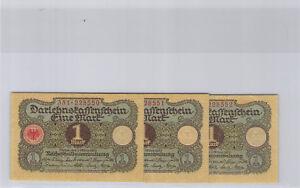 Allemagne Lot de trois 1 Mark 1.3.1920 Pick 58