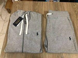 New Polo Ralph Lauren Men's gray Classic Fleece Hoodie Sweatpants Track Suit