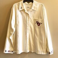 CJ Banks Embroidered Button Front Shirt Womens Plus Size 3X Mittens Hearts Ivory